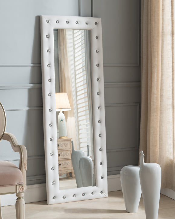 Jane Full Length Floor Mirror, White Faux Leather