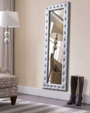 Jane Full Length Floor Mirror, Silver Faux Leather