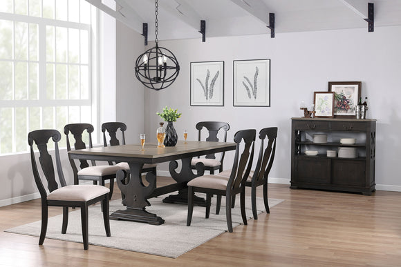 Frates 8 Piece Dining Set, Black & Brown Wood