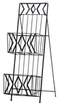 Cady 2 Tier Magazine Rack, Black Metal