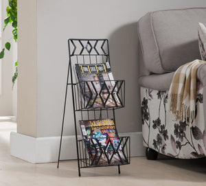 Black Metal 2 or 3 Tier Magazine Rack Organizer Display Stand - Pilaster Designs