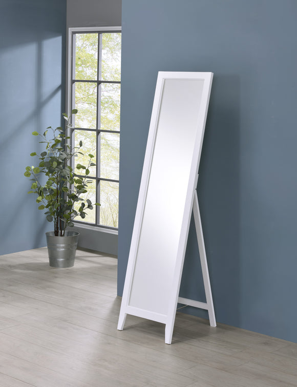 Peta Free Standing Floor Mirror, White Solid Wood