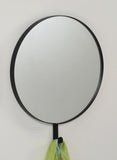 "Black Metal 21"" Round Traditional Decorative Wall Hanging Mirror With Hook - Pilaster Designs"