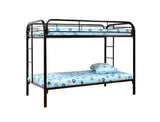 Adele Twin Size Metal Traditional Convertible Slat Bunk Bed With Guard Rails & Step Ladder (Twin Over Twin Bunkbed) (Black, Blue, Red, White) - Pilaster Designs