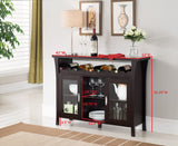 Richard Wine Cabinet Buffet, Espresso Wood & Glass