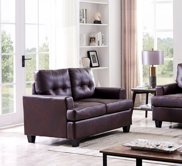 Molina Loveseat, Brown Faux Leather