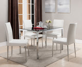 Leina Dining Set, Chrome Metal & White Vinyl