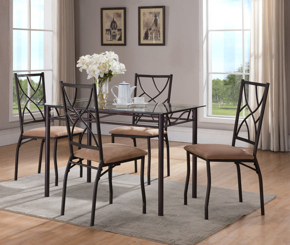 Bronze Metal Contemporary Square or Rectangle Kitchen Dinette Dining Table & Chairs - Pilaster Designs