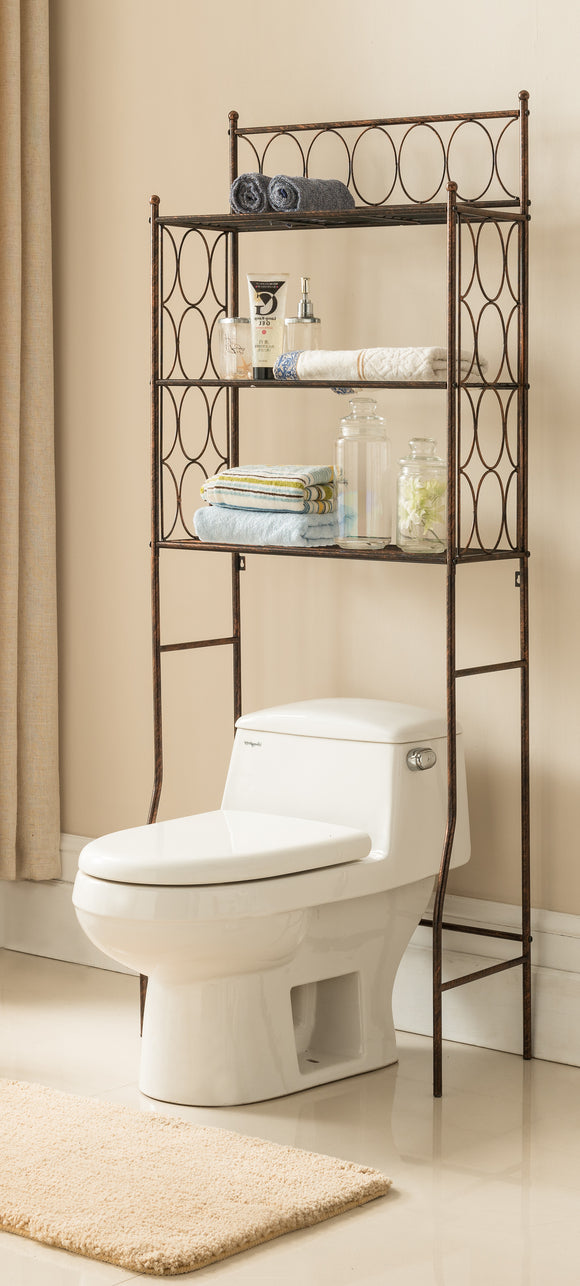 Copper Iron 3 Tier Shelf Storage Etagere Bathroom Rack Organizer - Pilaster Designs