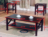 Valeda 3 Piece Coffee Table Set, Dark Cherry Wood