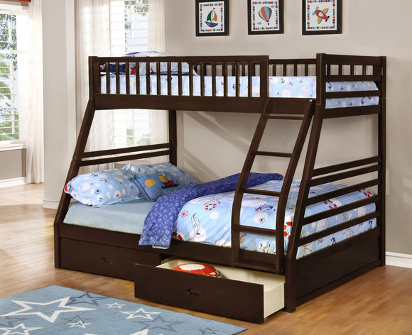 Bina Twin Over Full Wood Country Style Slat Bunk Bed (Bunkbed) With 2 Underbed Storage Drawers (Espresso, Honey) - Pilaster Designs