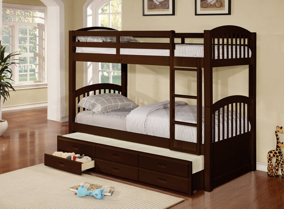 Brook Twin Size Wood Country Style Slat Bunk Bed With Trundle & 3 Underbed Storage Drawers (Twin Over Twin Bunkbed) (Espresso, Honey) - Pilaster Designs