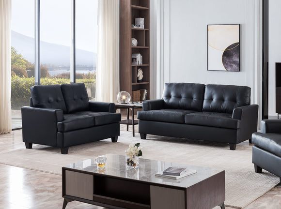 Molina 2 Piece Living Room Set, Black Faux Leather
