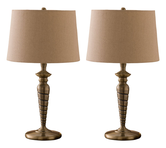Hailee Antique Body With Cream Barrel Fabric Shade Transitional Set Of Two Bedroom, Bedside, Desk, Bookcase, Living Room Table Lamps - Pilaster Designs