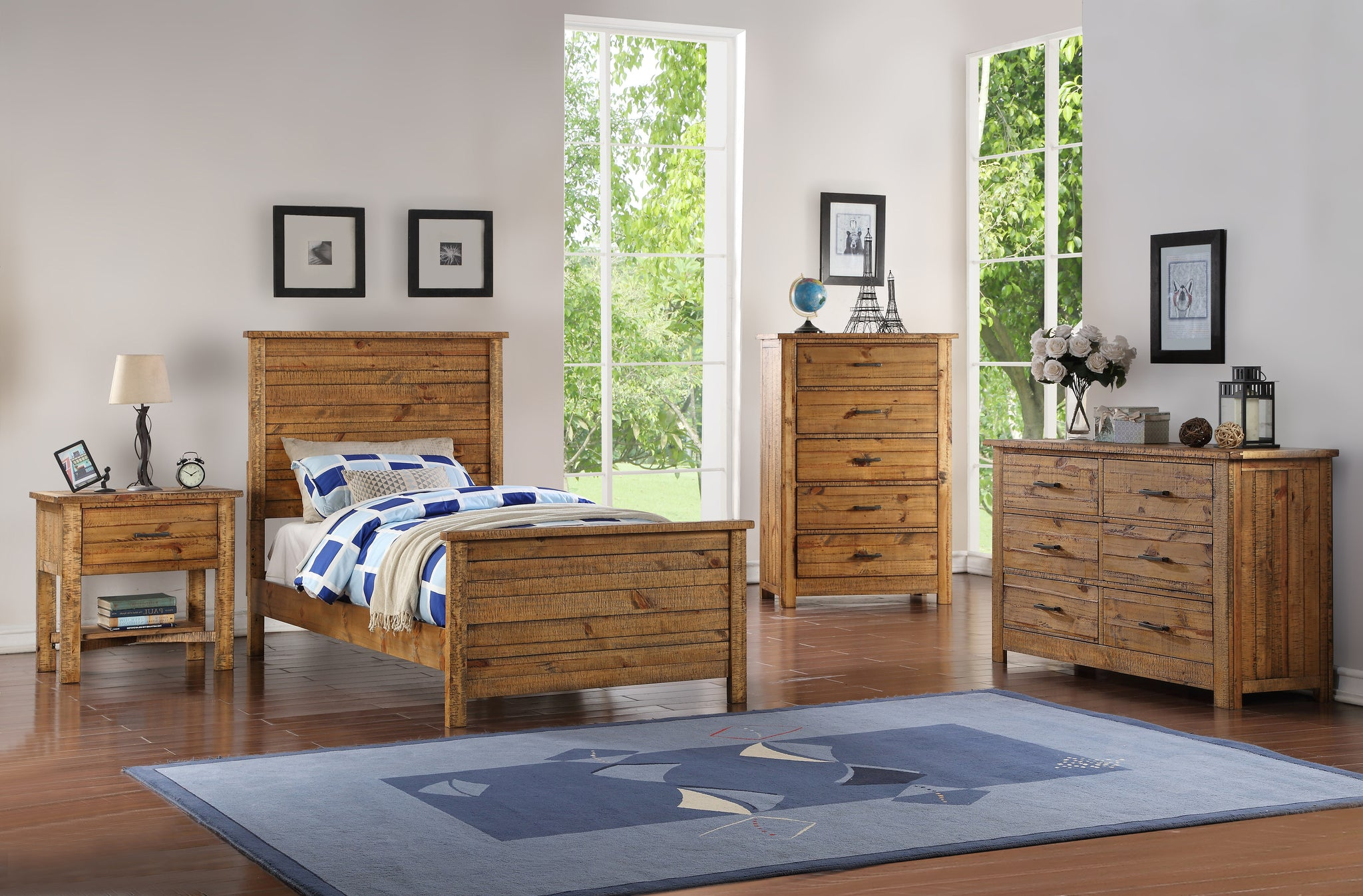 madison twin or full natural wood contemporary kids bedroom set (panel - pilaster designs