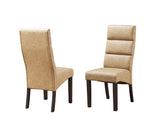 Olivia Dining Chairs, Coffee Faux Leather & Cappuccino Wood