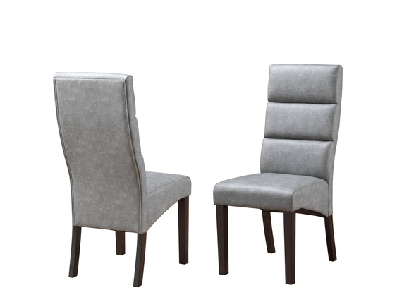Olivia Dining Chairs, Gray Faux Leather & Cappuccino Wood