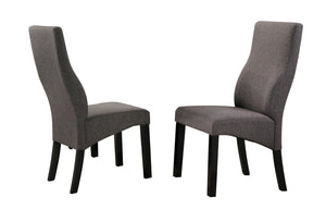 Aziza Dining Chairs, Gray Fabric & Cappuccino Wood