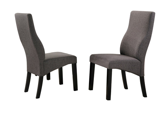 Aziza Dining Chairs, Gray Polyester & Cappuccino Wood