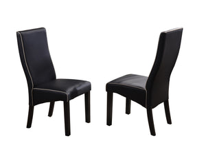 Eugene Dining Chairs, Black Faux Leather & Cappuccino Wood