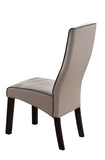 Eugene Dining Chairs, Gray Faux Leather & Cappuccino Wood