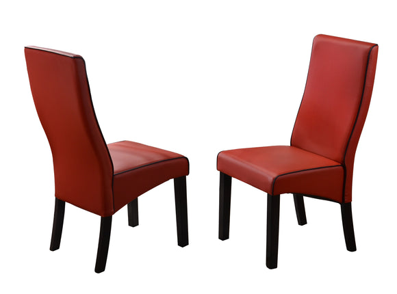 Eugene Dining Chairs, Red Faux Leather & Cappuccino Wood