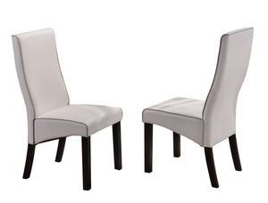 Eugene Dining Chairs, White Faux Leather & Cappuccino Wood