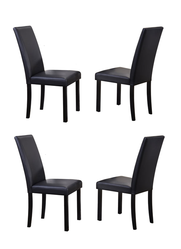 August Dining Chairs, Black Faux Leather & Wood