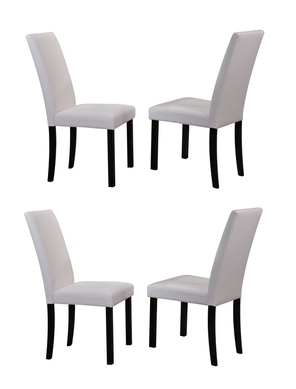 August Dining Chairs, White Faux Leather & Black Wood