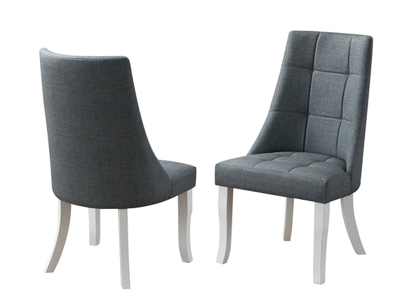Lexie Dining Chairs, Gray Vinyl & White Wood