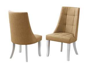 Lexie Chairs, Yellow Vinyl & White Wood