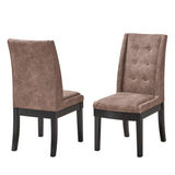 Riley Dining Chairs, Dark Brown Fabric & Cappuccino Wood