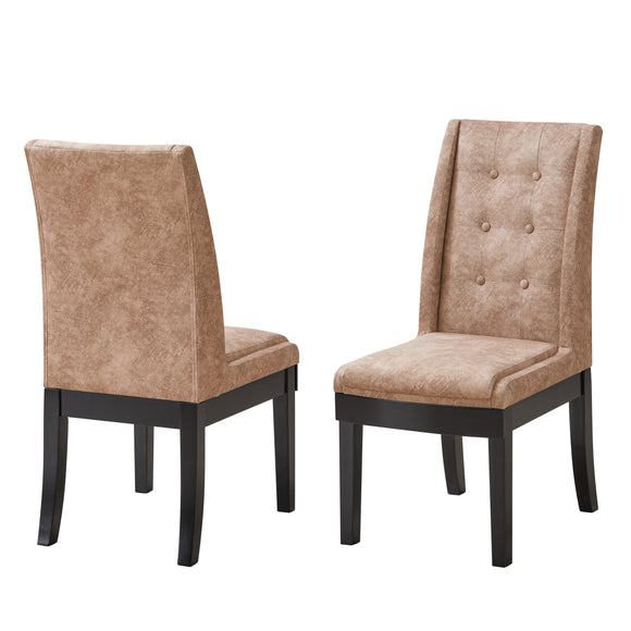 Riley Dining Chairs, Light Brown Fabric & Cappuccino Wood