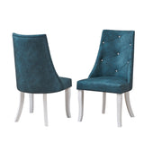 Benoit Dining Chairs, Blue Fabric & White Wood
