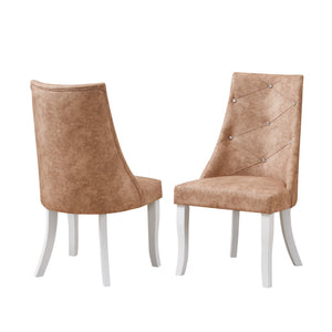 Benoit Dining Chairs, Light Brown Fabric & White Wood