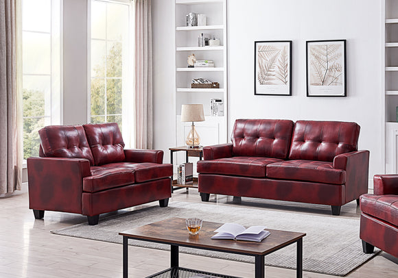 Molina 2 Piece Living Room Set, Red Faux Leather