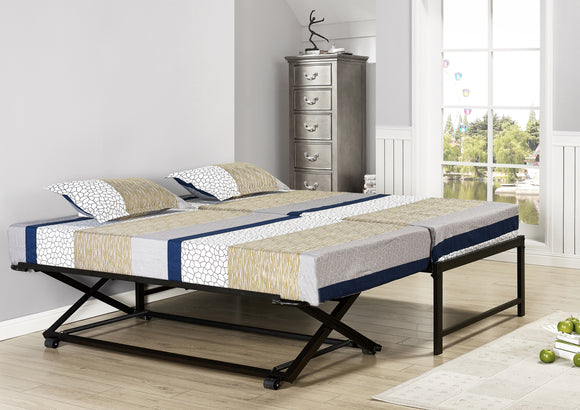 Archer Platform Bed Frame & Pop-Up Trundle Set, Black Metal, Twin