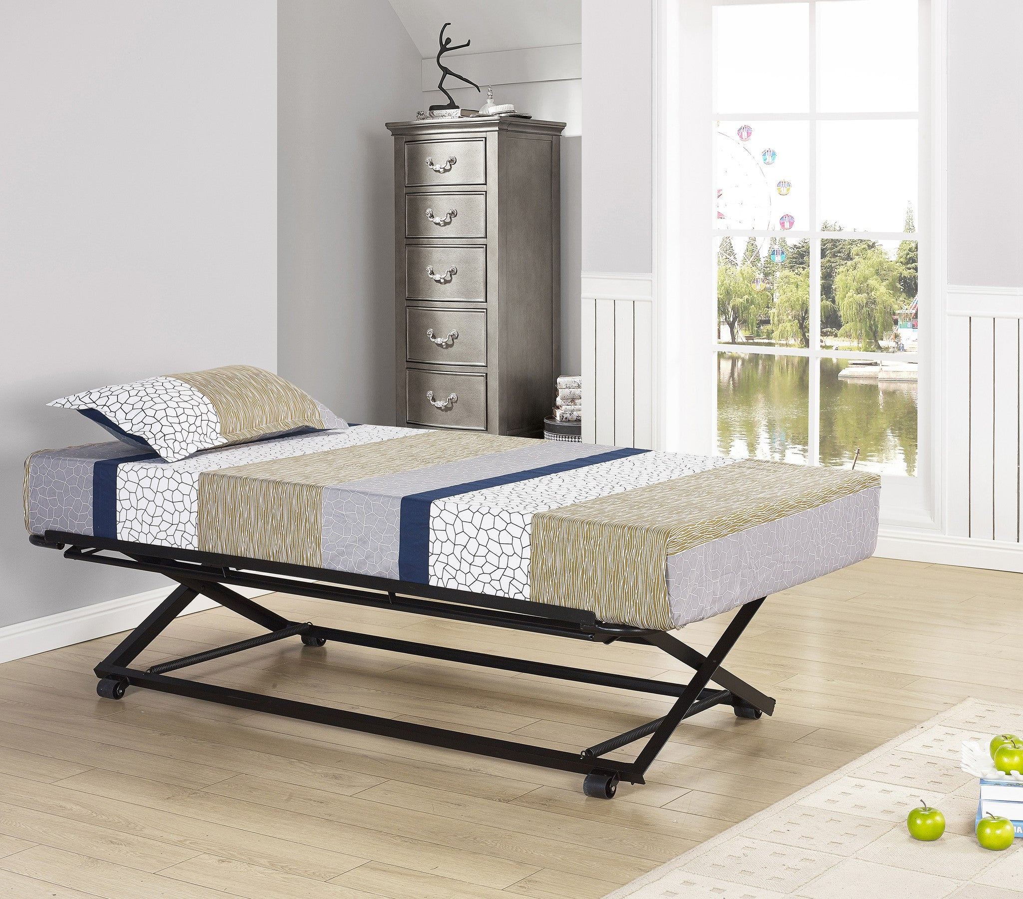 Archer Pop Up Trundle High Riser Bed Black Metal 39 Twin For Daybeds Pilaster Designs