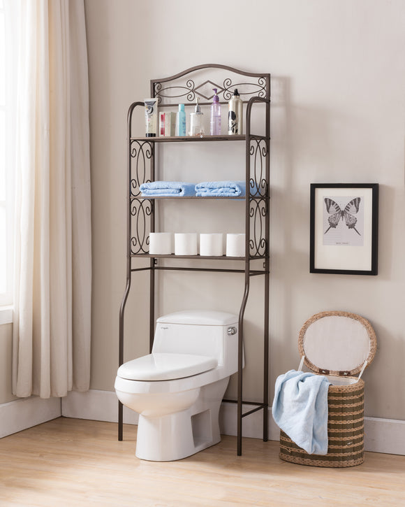 Leeds Over The Toilet Rack, Pewter Metal