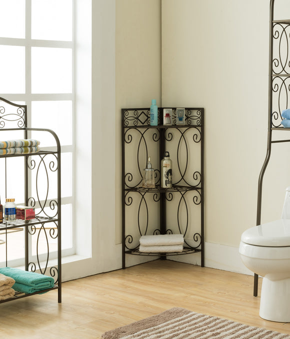 Leeds Freestanding Corner Bathroom Storage, Pewter Metal