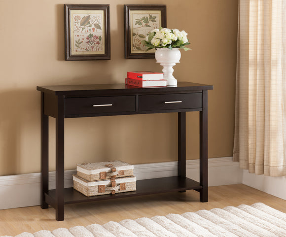 Espresso Wood Contemporary Occasional Entryway Console Sofa Table With Storage Drawers & Shelf - Pilaster Designs