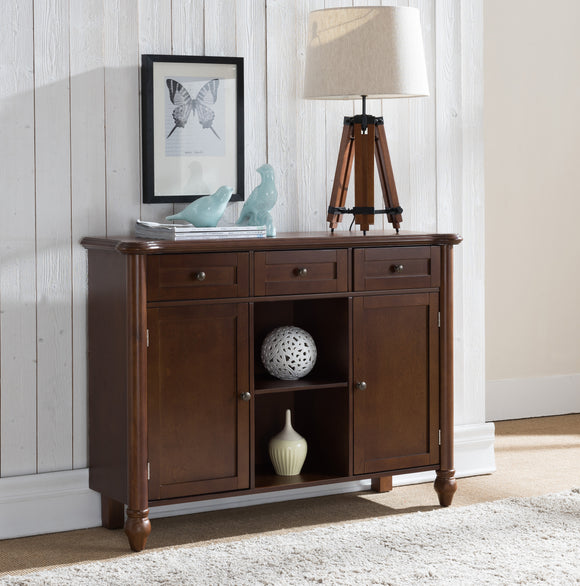 Levi Walnut Wood Transitional Sideboard Buffet Console Display Table With Storage Drawers, Cabinet Doors & Shelves - Pilaster Designs