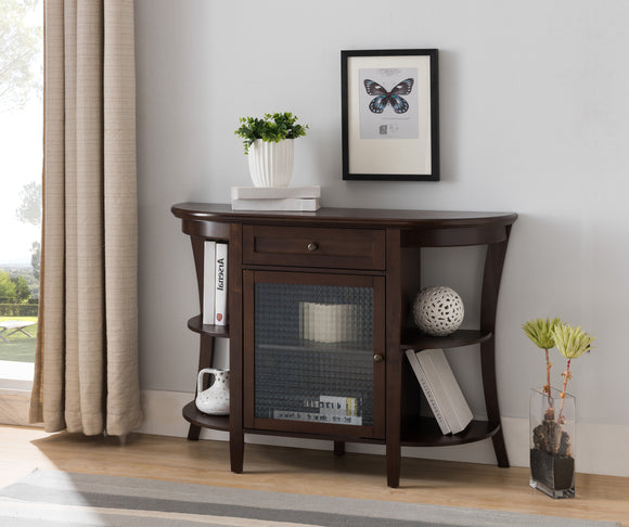 Thomas Sideboard Buffet, Walnut Wood & Glass