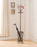 Cameo Coat, Hat & Umbrella Rack, Pewter Metal