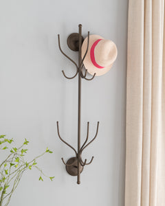 Cayenne Wall Mounted Coat & Hat Rack, Pewter Metal