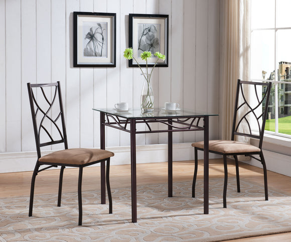Colette Dining Set, Bronze Metal & Tempered Glass