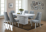 Lexie Dining Chairs, Blue Vinyl & White Wood