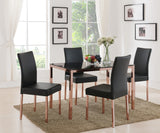 Leina Dining Table, Rose Copper Metal & Black Tempered Glass