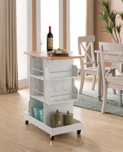 Leo White & Natural Top Wood Contemporary Kitchen Island Serving Display Cart With Wine & Glass Holders & Storage Shelves - Pilaster Designs