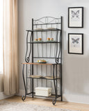 Amelia Black Metal & Walnut Wood Transitional 5 Tier Kitchen Bakers Rack - Pilaster Designs